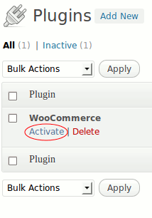 WooCommerce tutorial activating the WooCommerce plugin