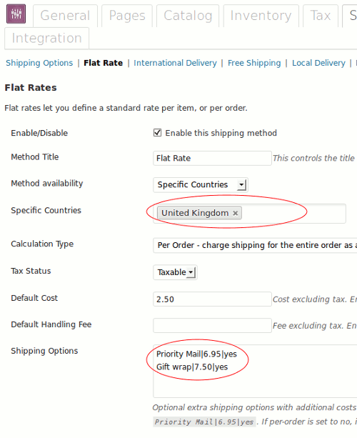 Flat rate options in WooCommerce