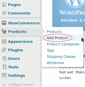 Products - Add Product. In WooCommerce
