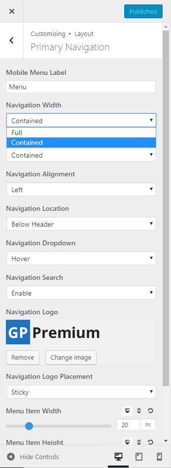 Choose a contained layout in the customizer