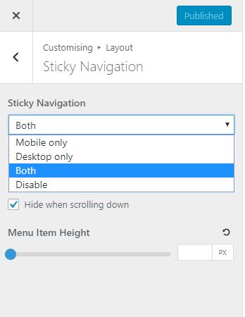 Enable sticky navigation in GeneratePress