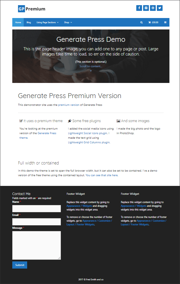 A contained layout in GeneratePress