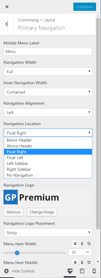 Setting the navigation menu to float right inside the website header section