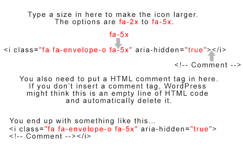 Font Awesome icon code with fa-5x and a HTML comment tag
