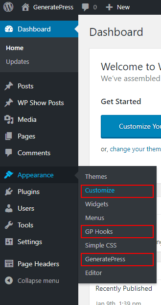 The Dashboard - Appearance tab in GeneratePress