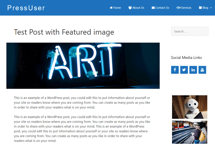The featured image below the post or page title