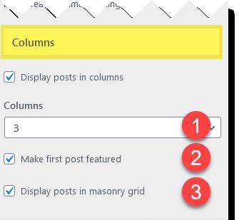 Blog column settings.