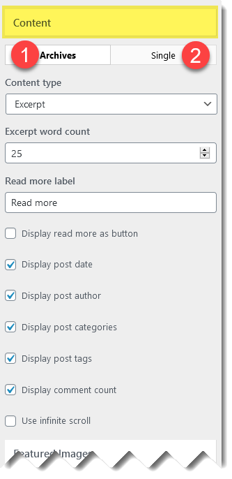 Blog settings for content.