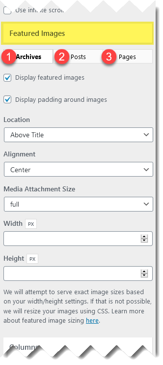 Blog settings for featured images.