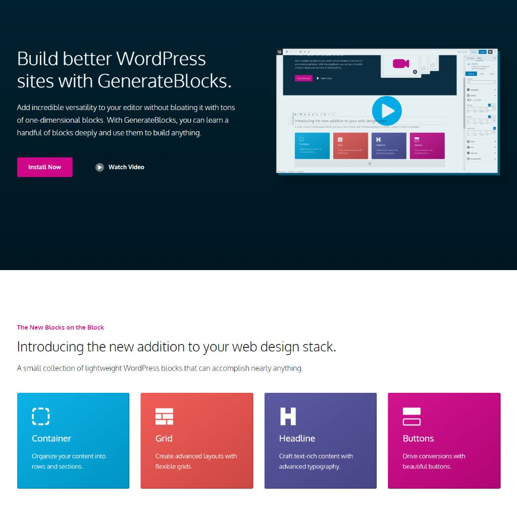 GeneratePress integrates fully with GenerateBlocks page builder.