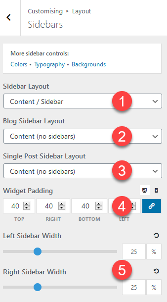 Sidebar settings in GeneratePress.