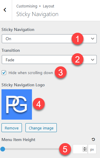 Sticky navigation options in GeneratePress theme.