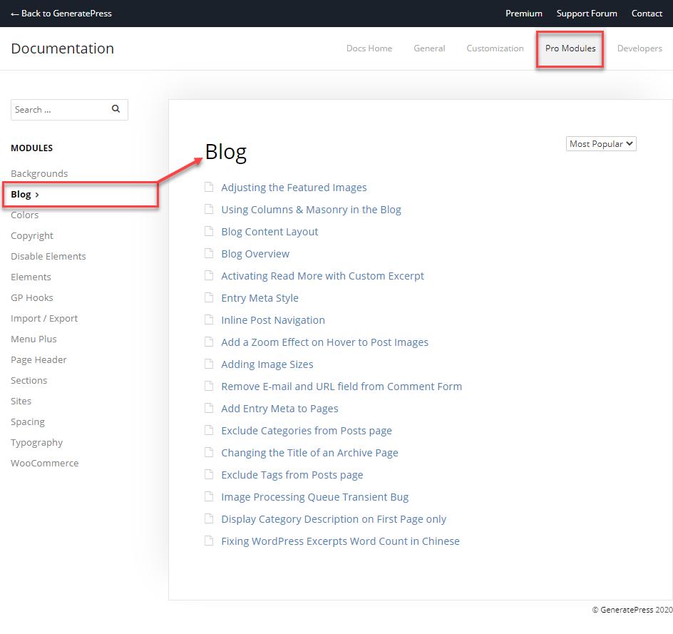 The pro modules tab when using GeneratePress Documentation.