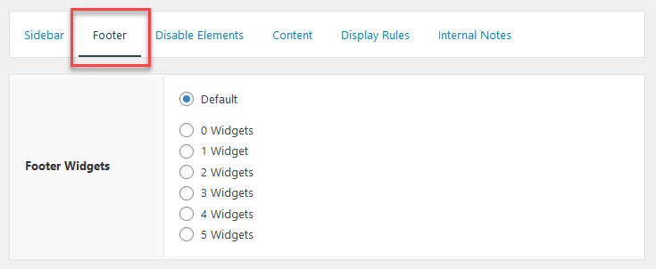 Layout footer settings.